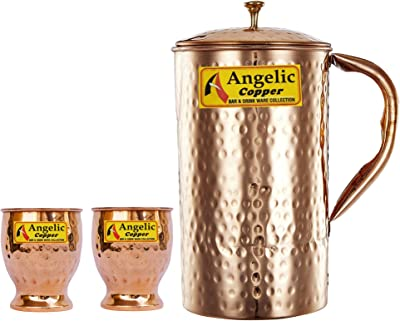 Angelic Copper Hammered Water Jug with Glasses Set, Set of 2, Brown