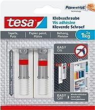 tesa® Verstelbare kleefschroef voor behang en gips, houdkracht tot 1 kg (3 verpakkingen = 6 schroeven)