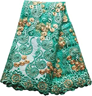 BlueSky 5 Yards African Nigerian French Lace Net Fabric Embroidered Beading and Rhinestones Guipure Cord Lace for Wedding Party A003 (Green)