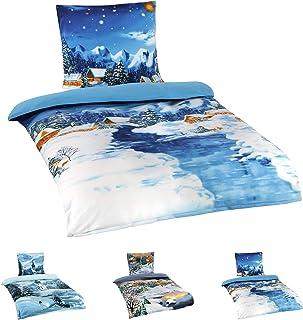 Niceprice Winter Flausch Fleece Microfaser Bettwäsche, Winterlandschaft Motive, 4tlg. Fluss 135x200