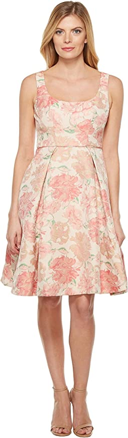 Jacquard Bloom Fit and Flare Dress