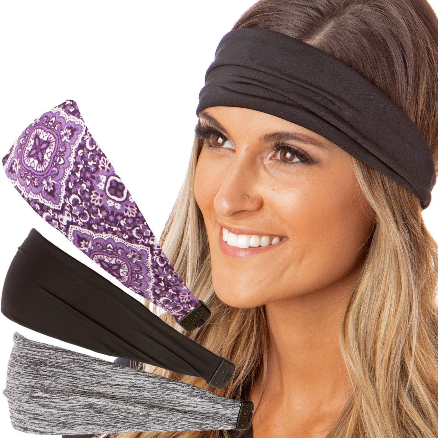 Hipsy Adjustable & Stretchy Printed Xflex Wide Headbands for Women Girls & Teens