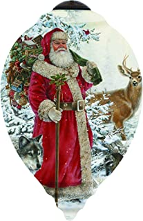 "Ne'Qwa Art, Limited Edition, ""Woodland Santa"" Artist Liz Goodrick-Dillon, Princess-Shaped Glass Ornament, 7151105"