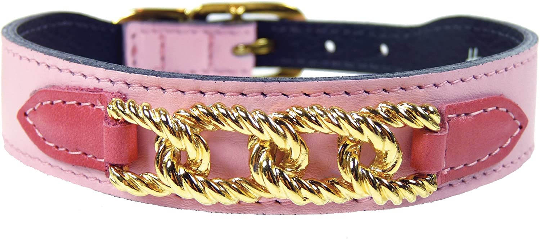 Hartman & pink Mayfair Collection Dog Collar, Sweet Pink Petal Tabs, 1416Inch