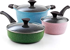 Cook N Home 6-Piece Nonstick Ceramic Coating Cookware Set, Multicolor