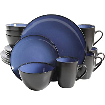Gibson Home 16 Piece Reactive Stoneware Soho Round Dinnerware Set, Blue -
