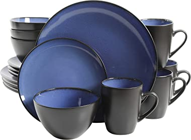Gibson Home 16 Piece Reactive Stoneware Soho Round Dinnerware Set, Blue -