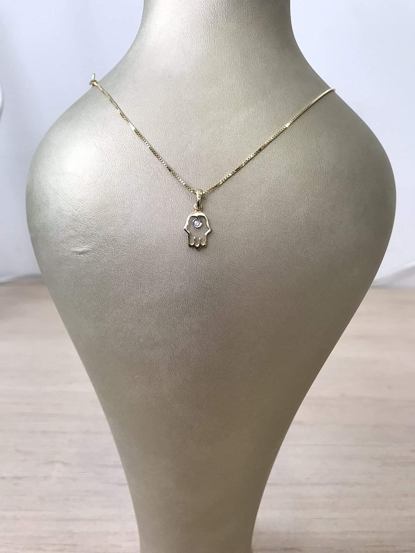 Yellow gold Deluxe handmade Fashion cute hamsa necklace pendant diamond