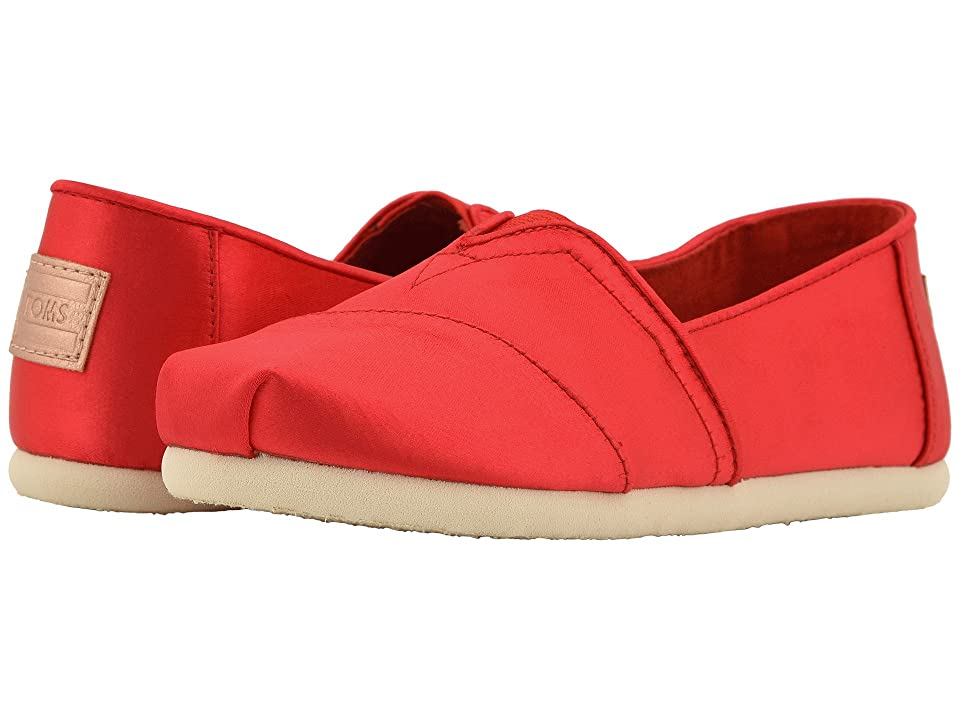 TOMS Kids Alpargata (Little Kid/Big Kid) (Lava Satin) Girl