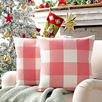 Phantoscope Pack of 2 Buffalo Check Plaid Throw Pillow Covers Farmhouse Plaid Pillow Covers Square Pillow Cases for Christmas Home Decor Pink,18 x 18 Inches
