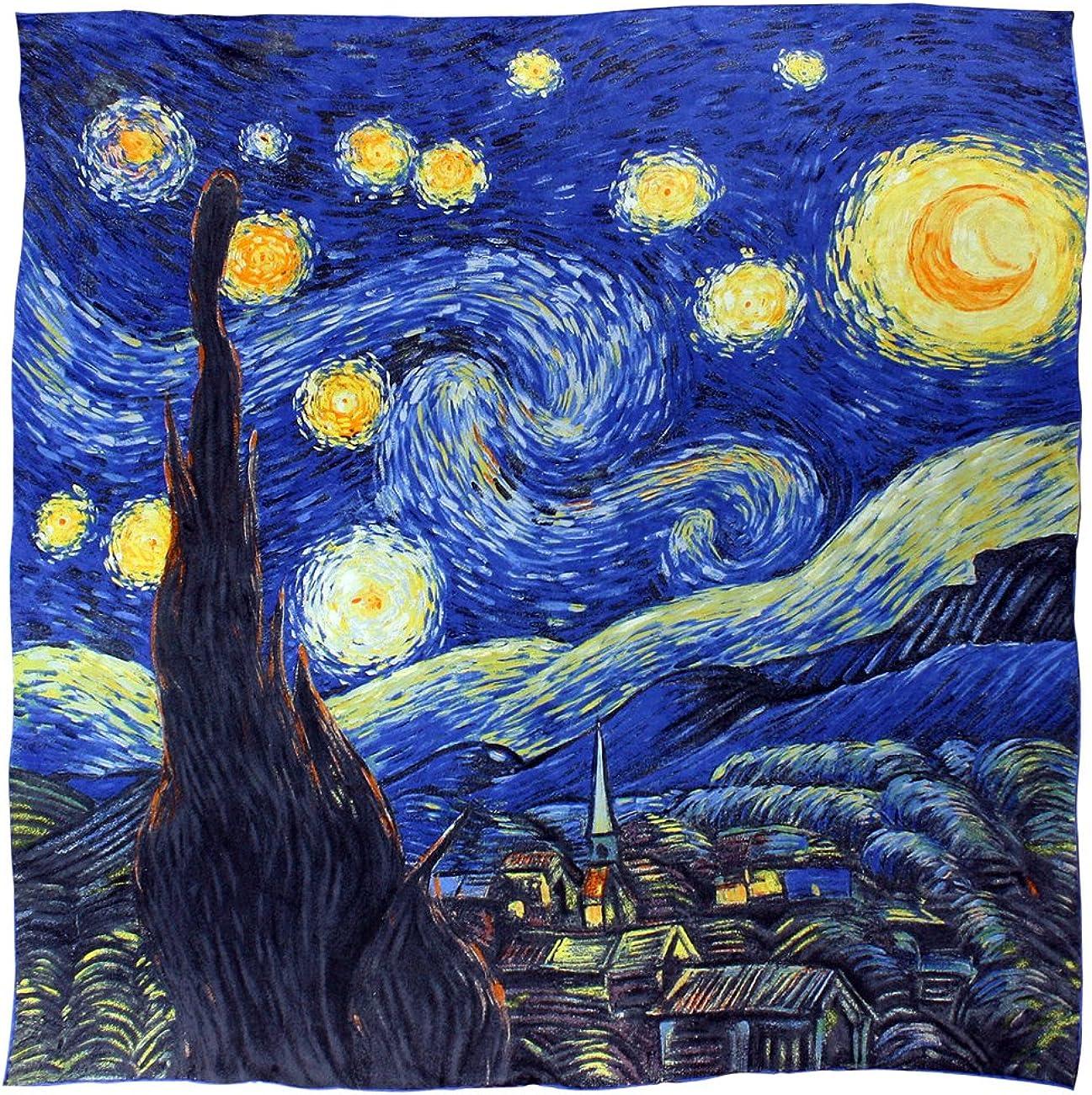 Dahlia Women's 100% Luxury Choice Long Regular store Silk Gogh's Art Coll Scarf Van -