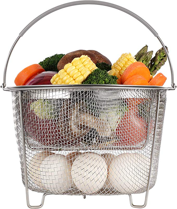 Aozita Steamer Basket For Instant Pot Accessories 6 Qt Or 8 Quart 2 Tier Stackable 18 8 Stainless Steel Mesh Strainer Basket Silicone Handle Vegetable Steamer Insert Egg Basket Pasta Strainer