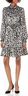Karl Lagerfeld Paris Women's Printed Satin Mock Neck Flounce Dress
