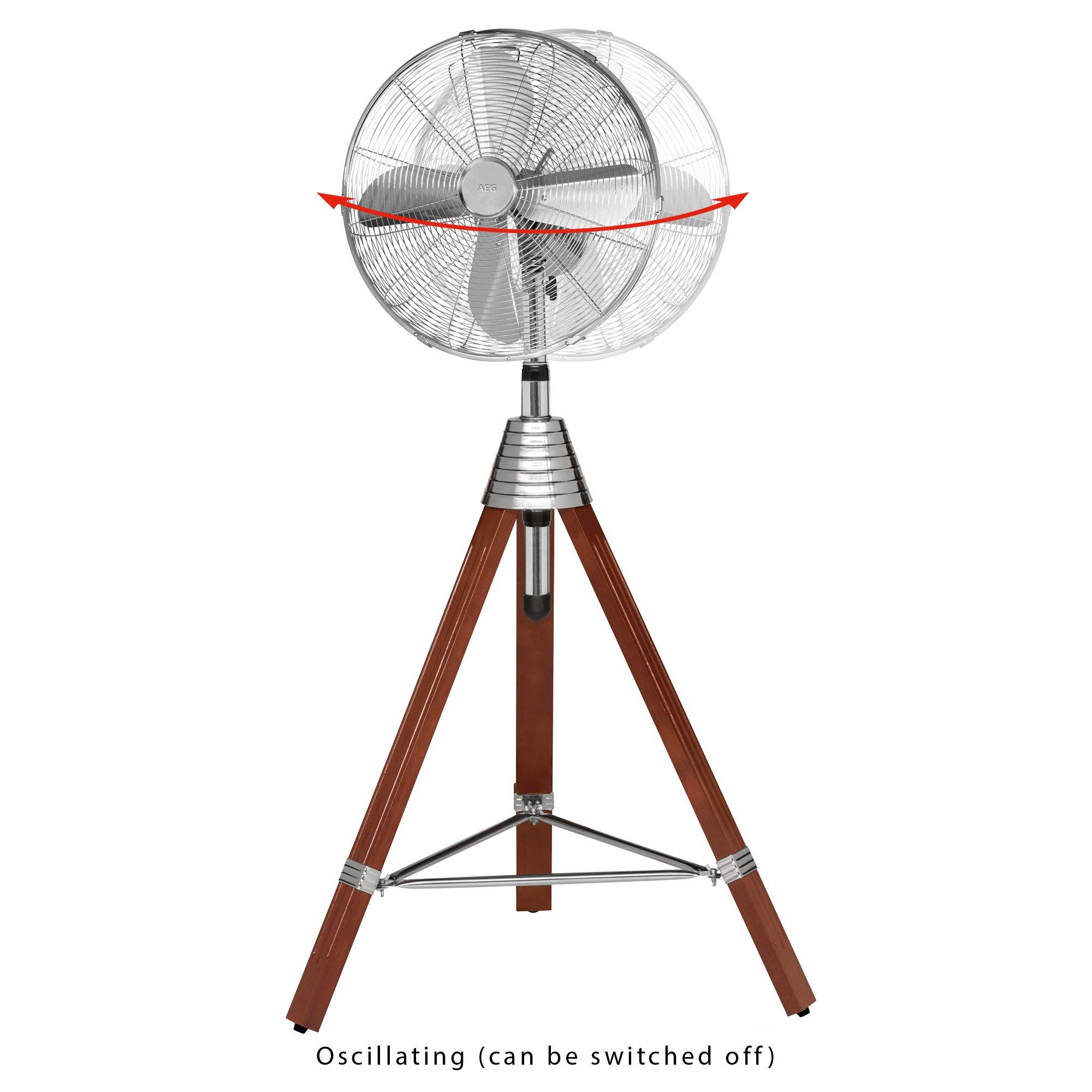 AEG VL 5688 S Ventilador de pie de estilo Retro, trípode de madera ...