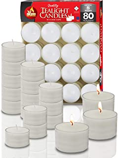 Ner Mitzvah Long Burning Tealight Candles - 8 Hours - White in Clear Cups - Unscented - 80 Pack - Made in EU