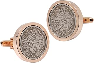 1955 Silver Sixpence Coins Set in a Rose Gold Plate Setting Mens 63 Years Gift Cuff Links by CUFFLINKS DIRECT