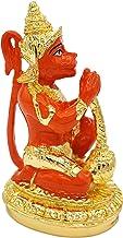 "Hanuman Statue 3.2"" - Hindu God of Strength, Gold Plated Resin Statue, Orange Color"