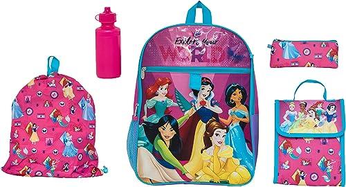 Disney Girls' Princess 5 Pc Set Backpack, Rosa, One Größe