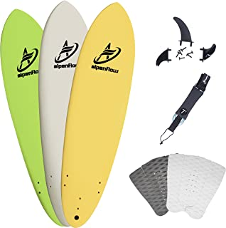 A ALPENFLOW 7' Soft Top Foam Surfboard 7ft Surfing Funboard Surf Boardwith 7' Surfboard Leash Surfing Fins and Traction Pad
