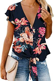 LUBERLIN Women's Floral Print Trumpet Sleeve Kimono Cardigan Lace Patchwork Cover Ups Blouse Tops