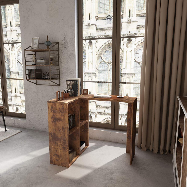 L-Shaped Corner Computer Desk with ●手数料無料!! Storage Shelves Rusti 4 通常便なら送料無料 Tier