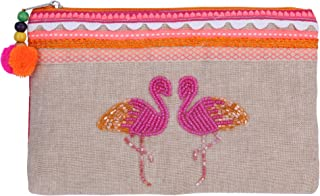 The Bombay Store - Flamingo Beadwork Utility Pouch- 13x20 cms- Multicolor Cotton