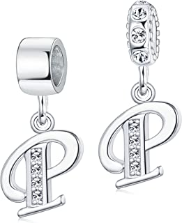 Milacolato A-Z Initial Spacer Alphabet Letter Beads Crystal Dangle Charms for Snake Chain Bracelets