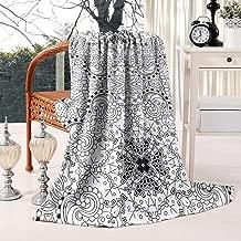 Unicorns Farting Mehndi Art Design Round Pattern Black Summer Thick Reversible Blanket Microplush Living Room/Bedroom Warm Throw Blanket Flannel Fleece Blanket, 59 X 79 Inch