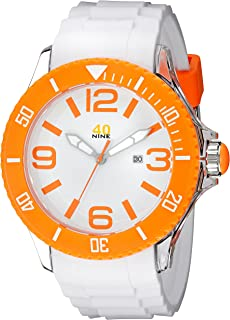 40Nine Men's 40NINE01/ORANGE3 Extra Large 50mm Analog Display Japanese Quartz White Watch