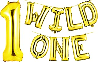 """envizins Gorgeous 16"""" Wild ONE Gold Foil Balloon Letters Banner with Large 40"""" Number """"1"""", Boy Girl First Birthday, Animal Birthday Party Balloons, Straw Ribbon Included"""