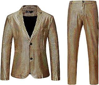 Men Shiny Sequins Blazer Suit Jacket Slim Fit Party Golden Blazer Jackets Casual Night Club Metallic Gold Blazers Coat
