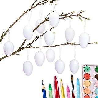 12 białych pisanek z masy papierowej | klasyczna dekoracja wielkanocna do gałęzi i kompozycji wielkanocnych | jajka do mal...