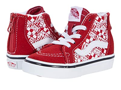 Vans Kids Sk8-Hi Zip (Infant/Toddler) ((Off The Wall) Chili Pepper/Racing Red) Boys Shoes