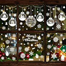 360+Pcs Christmas Window Clings Decals Nonadhesive Self-static Xmas Decorative Window Stickers Merry Christmas Santa Claus Snowman Snowflake Bell Christmas Party Decorations for Glass Window(12 Sheets)