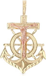 Ioka - 14K Two Tone Gold Religious Crucifix Anchor Charm Small Pendant For Necklace or Chain
