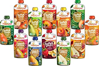 Happy Tot Stage 4 SuperFoods Fiber & Protein Baby Food Assortment Variety Pack (12 Count)