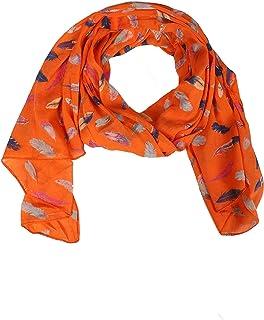 Zwillingsherz Seiden-Tuch Damen mit Feder Muster - Made in Italy - Eleganter Sommer-schal für Frauen - Hochwertiges Seidentuch/Seidenschal - Halstuch und Chiffon-Stola Dezent Stilvoll