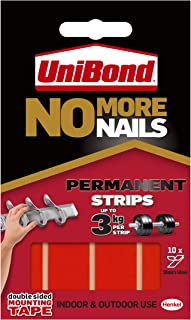 Unibond No More Nails Permanent Strips, Adhesive Strips for Fast & Easy Mounting, Double Sided Sticky Tape for Interior & Exterior Use, Waterproof Tape, Pack of 10