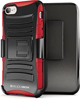 BUDDIBOX iPhone 7 Case / iPhone 8 Case, [HSeries] Heavy Duty Swivel Belt Clip Holster with Kickstand Maximal Protection Case for Apple iPhone 7 / iPhone 8, (Red)