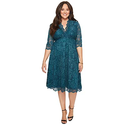 Kiyonna Mademoiselle Lace Dress (Teal Abyss) Women
