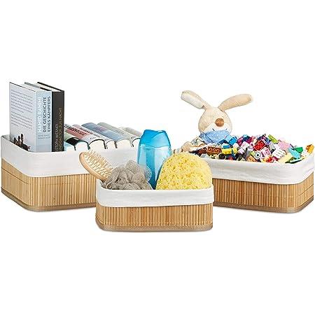 Relaxdays Boîte de rangement en bambou lot de 3 paniers rectangles HxlxP 12,5 x 32 x 22 cm pour étagère et armoire, nature