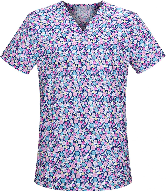 MASZONE Scrub_Top for Women Cute Workwear Tops V-Neck Work Uniform Floral Print Nurses_Tunic Short Sleeve Casual T-Shirt