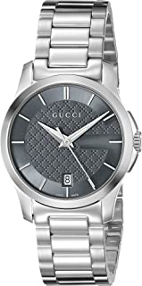 G-Timeless Analog Display Swiss Quartz Silver-Tone Unisex Watch(Model:YA126522u)