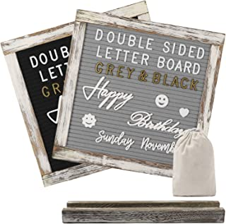 AlexBasic Double Sided Felt Letter Board with 750 Uncut Gold & White Letters, Months & Days Cursive Words, Numbers, Emojis, Tabletop Display, Letter Bags, Rustic Stand