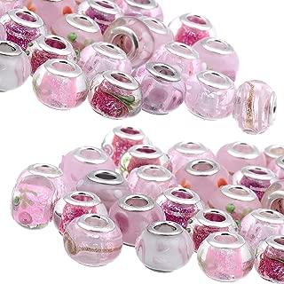 RUBYCA Mix Pink Murano Lampwork Glass Bead Rondelle European Charm Bracelet Silver Color 30pcs