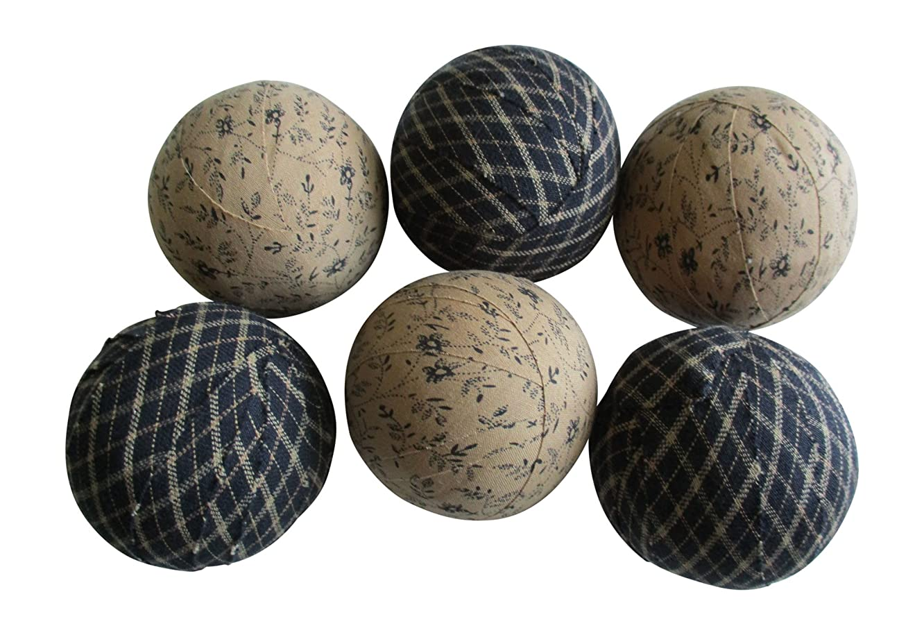 From The Attic Crafts Rag Balls Primitive Black and Tan Floral and Plaid Bowl Fillers 2.5
