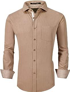 Esabel.C Mens Dress Shirts Bamboo Fiber Long Sleeve Regular Fit Stretch Wrinkle Free Casual Shirts