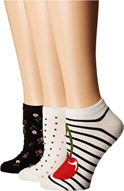 Kate Spade New York - 3-Pack Cherry No Show Socks