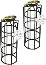 Rustic State Set of 2 Industrial Vintage Style Metal Wire Cylinder Light Cage   Lamp Guard for DIY Pendant Style Lamps   10 Inch Long Black