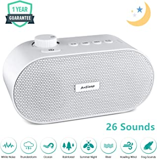 White Noise Machine, Noise Sound Machine, Sleep Sound Machine with Non Looping Soothing Sounds for Baby Kids Adult, Portable Auto Off Timer Batteries Powered for Home Office Travel (White)
